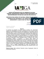 ÁREAS DE PRESERVAÇÃO DO AMBIENTE NATURAL URBANO, SEGREGAÇÃO NA BIODIVERSIDADE ESTUDO DE CASO DE PELOTAS R.S_000
