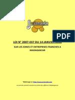 Loi 2007_037 Zones et entreprises franches