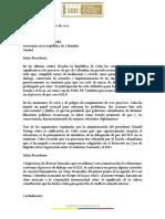 Carta a Duque Sobre Cuba