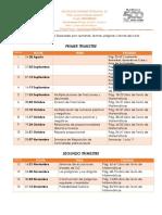 Calendario de Actividades 1er Trimestre y 2do Trimestre de Matemáticas 2