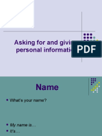 Asking-for-and-giving-personal-information power point presentation