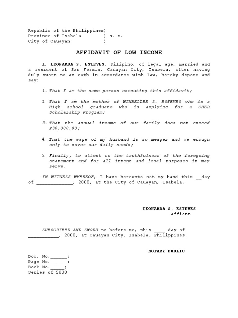 Low Income | Affidavit | Evidence