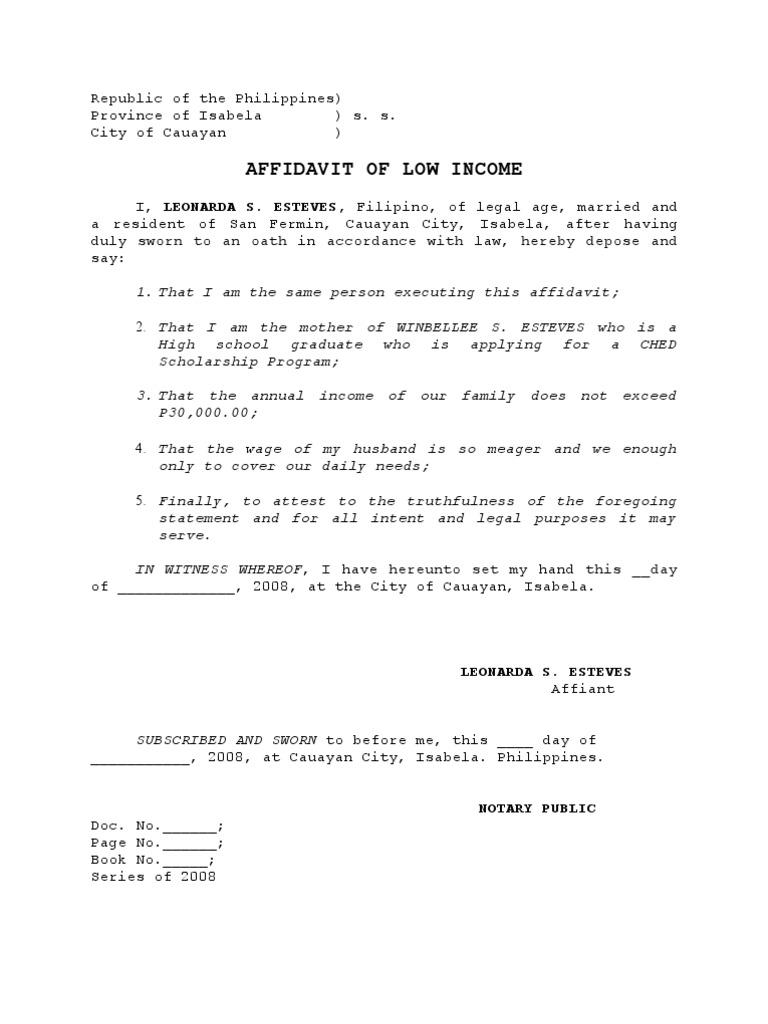 Low income affidavit evidence altavistaventures Image collections