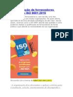 A qualificação de fornecedores segundo a ISO 9001
