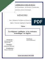 Les Dépenses Publiques Et La Croissance Économique en Algérie