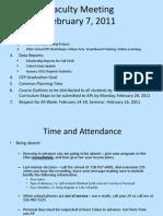 Faculty Meeting 2-7-2011