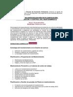 Programa de Especialización en Planificación, Programación y Control del Mantenimiento