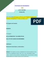 LEY 911 PROFESIÓN DE ENFERMERÍA