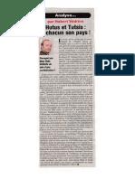 Hutus et Tutsis à chacun son pays ! Analyse d'Hubert Vedrine sur le Rwanda (Le Point, 23 nov. 1996)