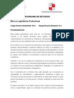 Programa de Ética y Legislación Profesional