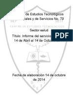 Informe del servicio social del 14 de Abril al 14 de Octubre 2014