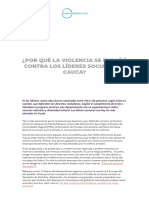DOCUMENTO No. 2. Por qué la Violencia se Ensañó contra los Líderes Sociales en el Cauca, 11, 05, 20