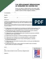 Attestation de Deplacement Derogatoire Couvre Feu PDF