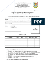 Form - Application for Permit To Transport for Security