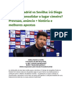 Atlético Madrid vs Sevilha_ irá Diego Simeone consolidar o lugar cimeiro_ Previsão, anúncio + história e melhores apostas