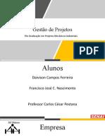 GESTÃO DE PROJETO- APARELHO DE MUSCULAÇÃO