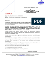 COURRIER  COULIBALY PAULIN N°276 ANNULE
