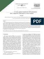 2006 - Abrasive wear of Al2O3 particle reinforced 2024 aluminium alloy composites fabricated by vortex method - M. Kök