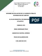 RENDICION DE AUDIENCIA PUBLICA ALCALDIA SABANAGRANDE 2018