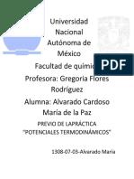 """Previo práctica 1 EyC """"""""POTENCIALES TERMODINÁMICOS"""""""