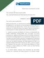 La Carta de La Oferta Que TeleCentro Le Hizo a La AFA