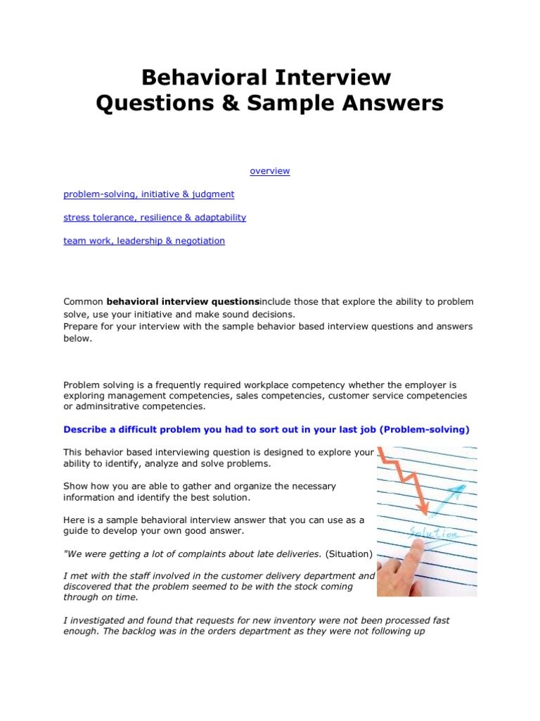 common behavioral questions answers competence human resources goal