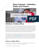 Safety Officer Onboard – Definition, Duties and Powers