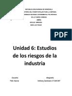 Unidad 6 Estudios de los riesgos de la industria