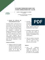 ANÁLISIS TERMODINÁMICO DE        INTERCAMBIADORES DE CALOR