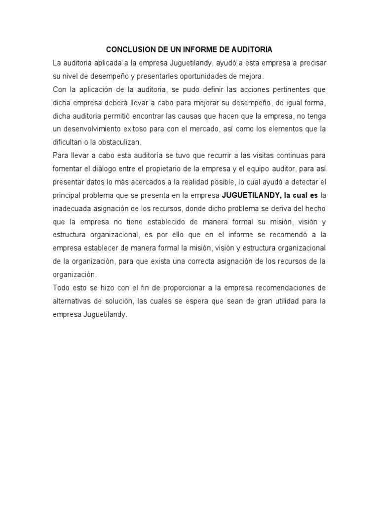Conclusion del informe de auditoria for Conclusion de un vivero