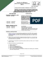 January 2021 Medical Technology Program of Exam