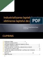 Industrializarea laptelui pentru obtinerea laptelui de consum