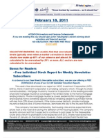 ValuEngine Weekly newsletter February 18, 2011