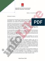 Carta de Reyero a Escudero del 11 de abril