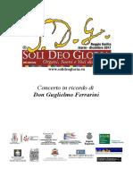 Programma di sala 10 settembre 2017 San Francesco da Paola Matteo Golizio in ricordo di don Guglielmo Ferrarini