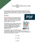 Lab.9 Molar mass of a volatile liquid-Report