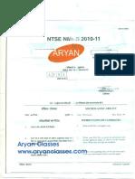 NTSE 2011 Chhattisgarh SAT Paper