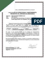 Certificado de Lámparas de emergencia REA Lima 2020