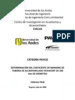 04-Determinación del coeficiente de manning de tubería de alcantarillado Novafort 200mm