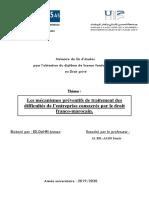 Asmaa ED-DAHRI. Les Mécanismes Préventifs Du Traitement Des Difficultés de l'Entreprise Consacrés Par Le Droit Franco-marocain