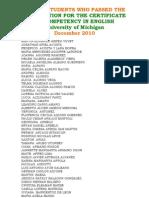 Lista de alumnos que aprobaron First Michigan [Dec,2010]