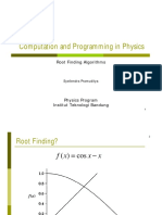 Computation and Programming in Physics - Root Finding Algorithms