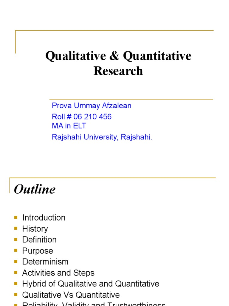 qualitative & quantitative research | quantitative research