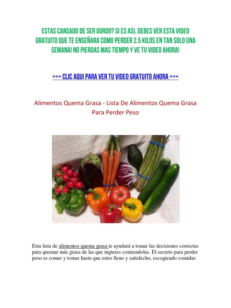 listado de alimentos para bajar de peso