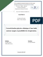 Caractérisation physico-chimique d'une huile moteur usagée et possibilité de récupération