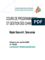 COURS DE PROGRAMMATION ET GESTION DES CHANTIERS 1ème Partie