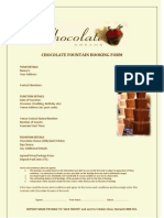 CHOCOLATE FOUNTAIN BOOKING FORM