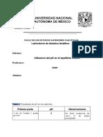 Influencia del pH en el equilibrio Redox