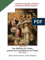 23 de Enero. San Ildefonso de Toledo, patrono de la Archidiócesis de Toledo. Propio y Ordinario de la santa misa