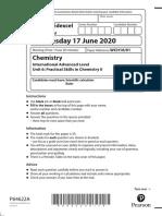 June/Oct 20 Chemistry unit 6 QP edexcel ial